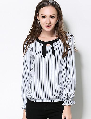 Polyester Medium Langermet,Rund hals T-skjorte Stripet Høst Enkel Fritid/hverdag Plusstørrelser Dame