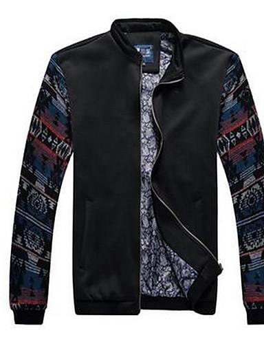 男性 プラスサイズ ソリッド ジャケット,ヴィンテージ ブラック コットン 長袖