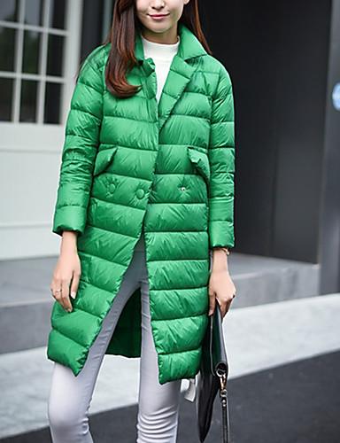 Dame Lang Dun Langermet Frakk Fritid/hverdag Ensfarget-Bomull Polyester Polyester Bomull Polypropylen Skjortekrage