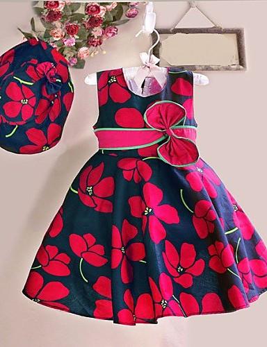 Kleid Blumen Baumwolle Frühling Sommer Ärmellos Rot