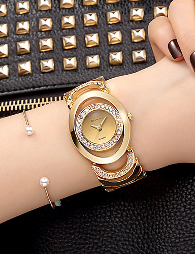 cheap Bracelet Watches-Women's Bracelet Watch Wrist Watch Quartz Silver / Gold Imitation Diamond Analog Ladies Charm Sparkle Vintage Casual - Silver Rose Gold Gold / White Two Years Battery Life