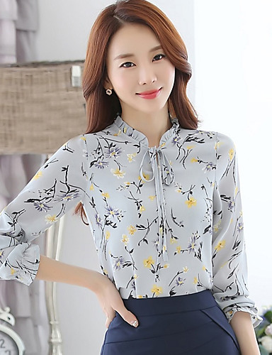 Mujer Chic de Calle Estampado Camisa, Escote Chino Floral