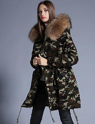 Dame Lang Dun Langermet Frakk,Gatemote Fritid/hverdag Camouflage-Polyester Hvitt andedun Med hette Rosa / Brun