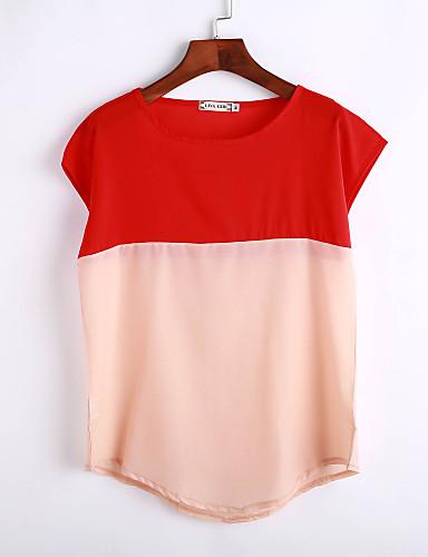 Kortærmet Rund hals Tynd Dame Rød Farveblok Sommer Simpel Sødt Gade I-byen-tøj Afslappet/Hverdag T-shirt,Polyester