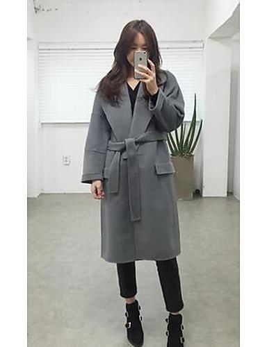 女性 カジュアル/普段着 ソリッド コート,シンプル ピンク / グレイ ポリエステル 長袖