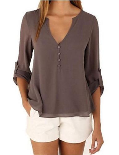 Mulheres Blusa Sólido Algodão Decote V / Outono