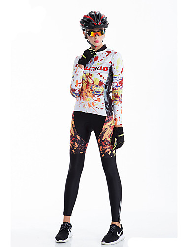 cheap Cycling Clothing-Malciklo Women's Long Sleeve Cycling Jersey with Tights - Rainbow Bike Tights Breathable 3D Pad Quick Dry Back Pocket Winter Sports Coolmax® Lycra Graffiti Mountain Bike MTB Road Bike Cycling