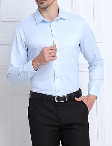 男性用 プラスサイズ シャツ ソリッド ストライプ ジャカード コットン