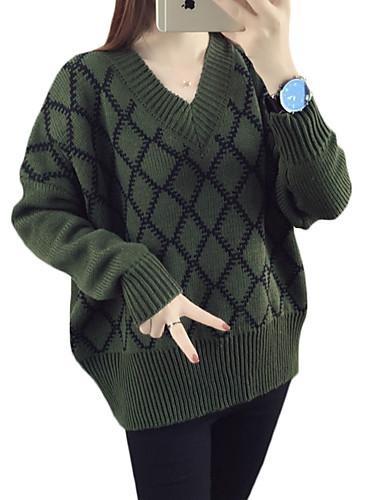 Normal Pullover Fritid/hverdag Vintage Dame,Hundetannmønster V-hals Langermet Bomull Høst Medium Mikroelastisk