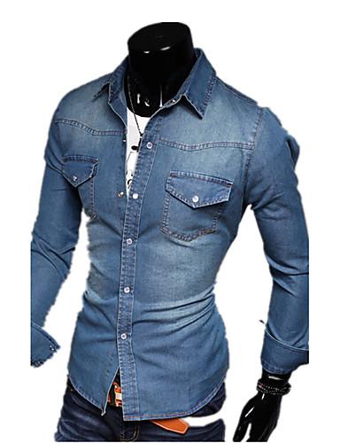 メンズ 春 秋 デニムジャケット シャツカラー 長袖