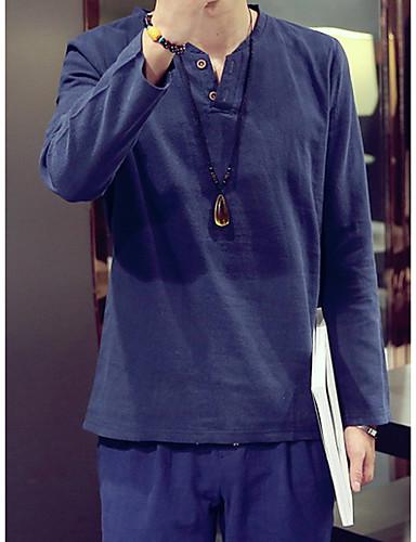 男性用 カジュアル/普段着 春 秋 Tシャツ, シンプル Vネック ソリッド リネン 長袖