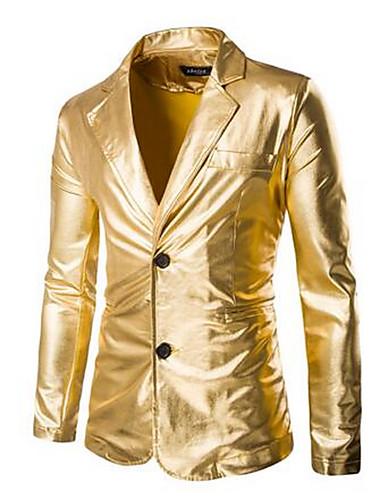 Polyester Gull Medium Langermet,Skjortekrage Frakk Ensfarget Enkel Fritid/hverdag-Vår Herre