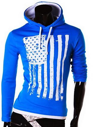 男性 カジュアル/普段着 春 / 秋 Tシャツ,シンプル フード付き カラーブロック ブルー / レッド / ホワイト / ブラック コットン 長袖 薄手