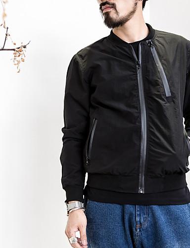 男性 お出かけ ソリッド ジャケット,シンプル ブラック ポリエステル 長袖