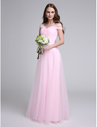 A-Line Off Shoulder Floor Length Tulle Bridesmaid Dress with Criss Cross / Ruched by LAN TING BRIDE®