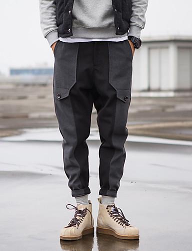 Miehet Yksinkertainen Mikroelastinen Chinos housut Housut,Haaremi Keski vyötäröYhtenäinen