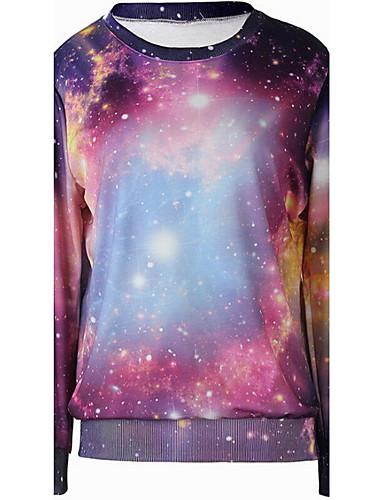 Damen Pullover Lässig/Alltäglich Aktiv 3D-Druck Rundhalsausschnitt Mikro-elastisch Polyester Langarm Herbst Winter
