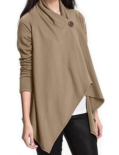 Damen Solide Einfach Street Schick Formal T-shirt,Asymmetrisch Frühling Herbst Langarm Blau Beige Schwarz Elasthan Mittel