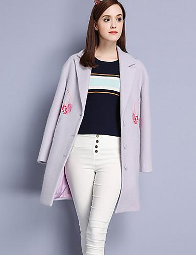 Damen Stickerei Einfach Lässig/Alltäglich Mantel,Herbst Winter Gekerbtes Revers Langarm Lila Wolle Acryl Polyester