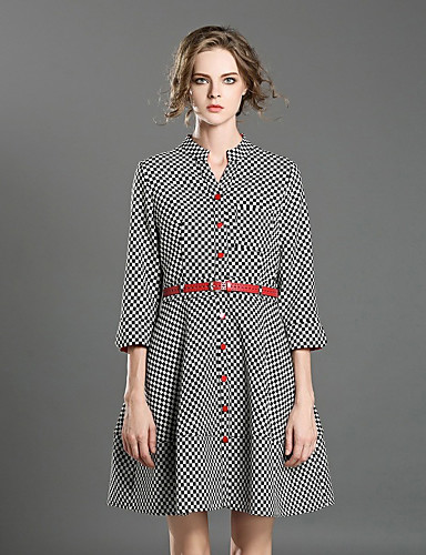 Damen A-Linie Kleid-Lässig/Alltäglich Einfach Schachbrett V-Ausschnitt Übers Knie Langarm Polyester Frühling Herbst Hohe Hüfthöhe