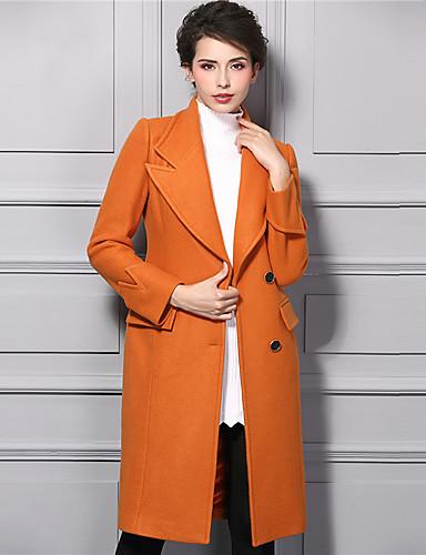 女性 カジュアル/普段着 冬 ソリッド トレンチコート,ストリートファッション Vネック オレンジ ナイロン 長袖 厚手