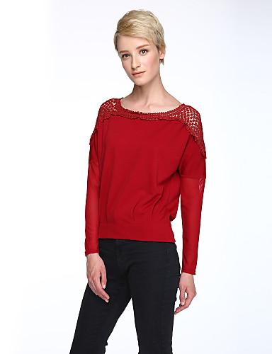 Langærmet Rund hals Gennemsigtig Dame Rød Sort Patchwork Forår Efterår Gade Afslappet/Hverdag T-shirt,Polyester