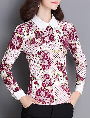 Damen Blumen Street Schick Lässig/Alltäglich Übergröße Bluse,Quadratischer Ausschnitt Frühling Herbst Langarm Polyester Elasthan Mittel