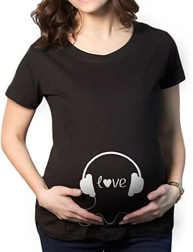 f0c3264397c Εγκυμοσύνη T-shirt Καθημερινά Απλό Στάμπα,Κοντομάνικο Στρογγυλή Λαιμόκοψη  Βαμβάκι ...