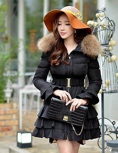 Damen Daunen Mantel,Lang Retro Street Schick Anspruchsvoll Ausgehen Lässig/Alltäglich Urlaub Solide-Polyester Waschbär-PelzWeiße