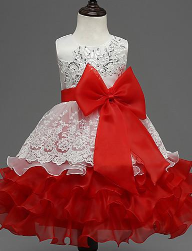 Menina de Vestido Para Noite Estampa Colorida Verão Poliéster Sem Manga Laço Azul Roxo Fúcsia Vermelho