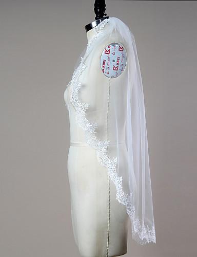 Uma Camada Borda com aplicação de Renda Borda Recortada Véus de Noiva Véu Ponta dos Dedos Com Apliques Franzido Renda Tule