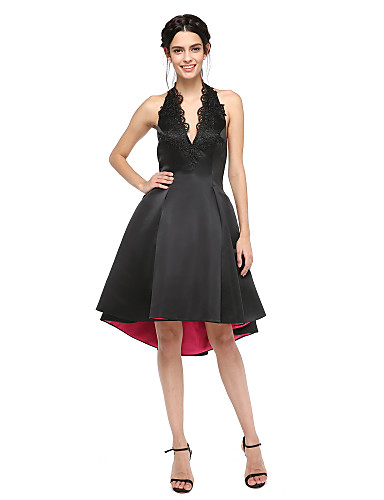A-Linie Halter Asymmetrisch Satin Cocktailparty Abiball Kleid mit Applikationen Plissee durch TS Couture®