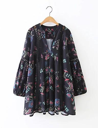 Damen Hülle Kleid-Ausgehen Lässig/Alltäglich Einfach Street Schick Blumen V-Ausschnitt Übers Knie Langarm Kunstseide Polyester Elasthan