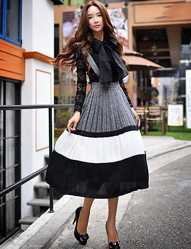 Dame Daglig I-byen-tøj Arbejde Ensfarvet Vintage Swing Midi Kjole,Uden ærmer Med stropper