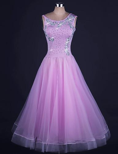 رخيصةأون ملابس الحفلات الراقصة-Ballroom Dance الفساتين نسائي أداء أورجنزا / ليكرا حصى بدون كم ارتفاع متوسط فستان