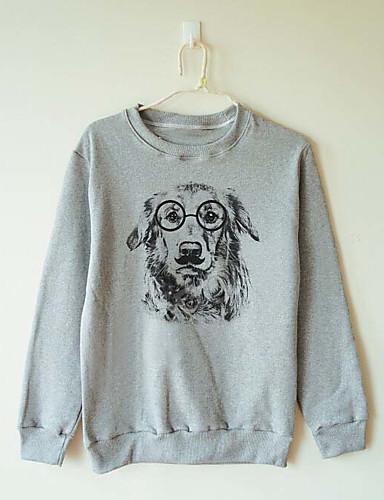 Damen Pullover Lässig/Alltäglich Druck Rundhalsausschnitt Mikro-elastisch Baumwolle Lange Ärmel Herbst Winter