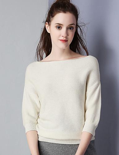 Damen Solide Einfach Lässig/Alltäglich Hemd,Bateau Herbst Langarm Baumwolle