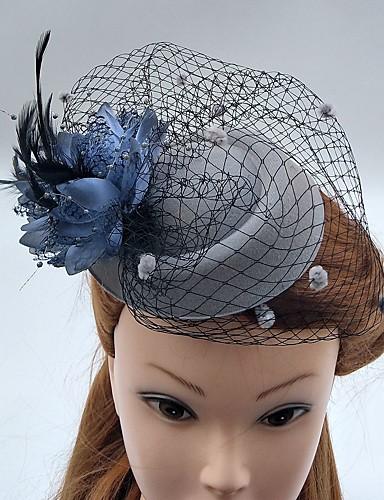 abordables Chapeau & coiffure-Tulle / Plume / Filet Fascinators / Chapeaux / Voiles Birdcage avec 1 Mariage / Occasion spéciale Casque