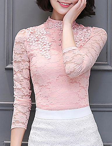 Damen Solide Patchwork Einfach Street Schick Ausgehen Lässig/Alltäglich Übergröße Bluse,Ständer Frühling Herbst Langarm Polyester Mittel