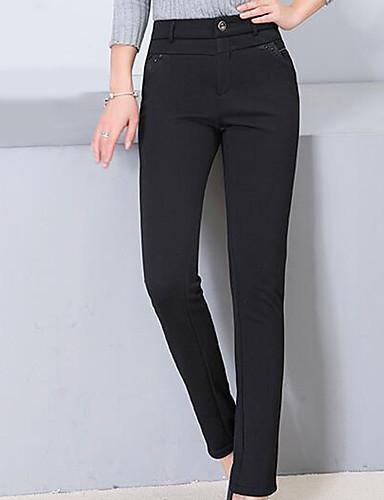 Naiset Yksinkertainen Mikroelastinen Chinos housut Housut,Hoikka Keski vyötäröYhtenäinen