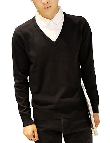 Herren Standard Pullover-Lässig/Alltäglich Arbeit Übergröße Einfach Niedlich Street Schick Solide Blau Rot Schwarz Grau V-Ausschnitt