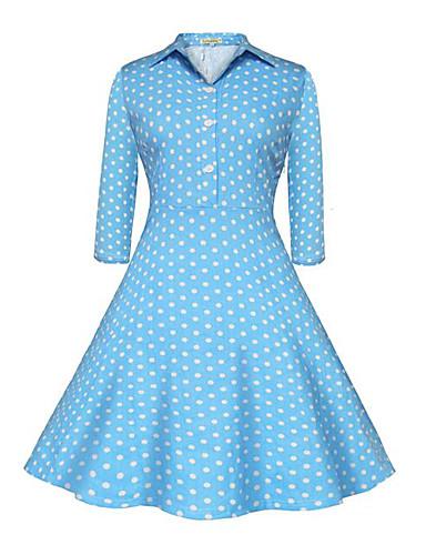 Damen Swing Kleid-Lässig/Alltäglich Niedlich Punkt Hemdkragen Knielang ¾-Arm Blau Baumwolle Sommer Hohe Hüfthöhe Mikro-elastisch Mittel