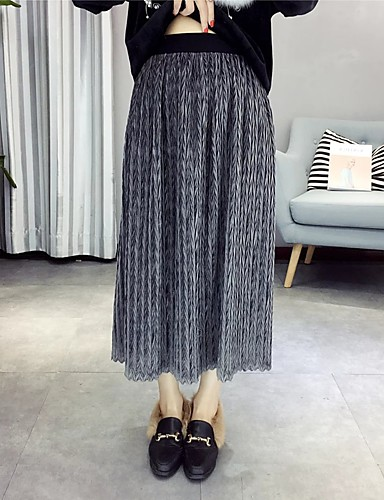 Damen Einfach Street Schick Mittlere Hüfthöhe Midi Röcke A-Linie,Gefaltet Gestreift