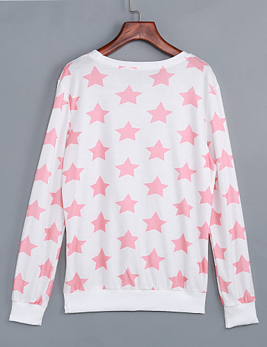 Dames Eenvoudig Schattig Uitgaan Casual/Dagelijks Sweatshirt Print Ronde hals Micro-elastisch Katoen Spandex Lange mouw Herfst Winter
