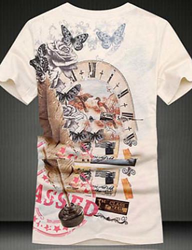 メンズ お出かけ 春 秋 Tシャツ,シンプル Vネック 幾何学模様 コットン 半袖 ミディアム