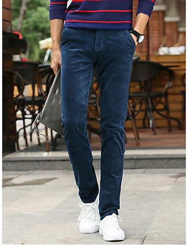 Miehet Yksinkertainen Katutyyli Mikrojoustava Chinos housut Housut,Löysä Suora Keski vyötäröYhtenäinen