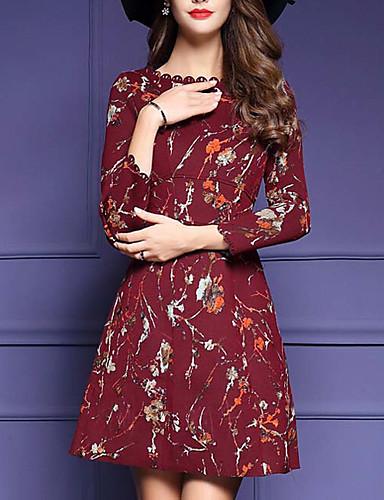Damen Hülle Kleid-Formal Sexy Blumen Rundhalsausschnitt Übers Knie Langarm Baumwolle Herbst Mittlere Hüfthöhe Mikro-elastisch Mittel