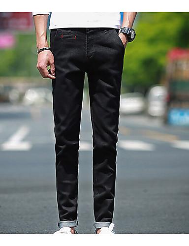 Herren Skinny Jeans Hose-Lässig/Alltäglich Einfach einfarbig Mittlere Hüfthöhe Reisverschluss Baumwolle Micro-elastisch All Seasons