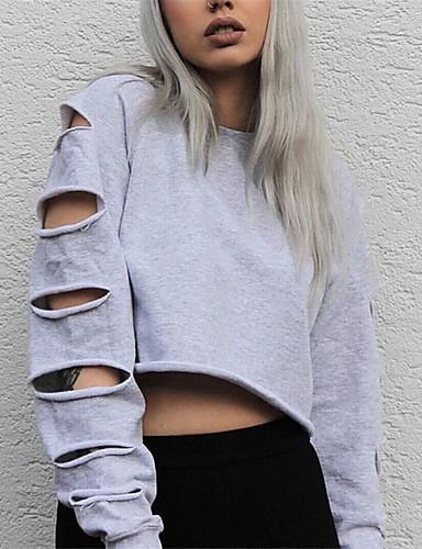 Damen Solide Einfach Lässig/Alltäglich T-shirt,Rundhalsausschnitt Frühling Herbst Langarm Baumwolle Mittel