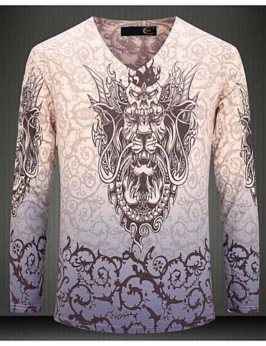 Herren Tierfell-Druck Retro Strand Urlaub T-shirt,V-Ausschnitt Langarm Weiß Baumwolle